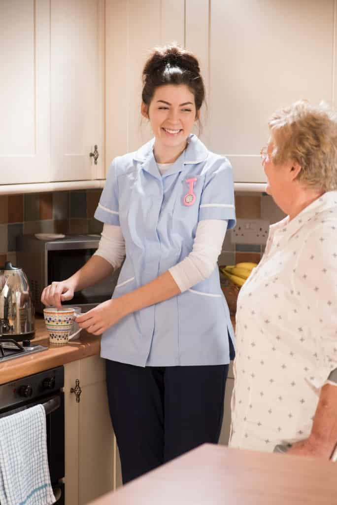 senior-woman-chats-to-care-worker-picture-id533632203